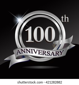 100th anniversary logo with blue ribbon and silver shiny badge, vector design for birthday celebration