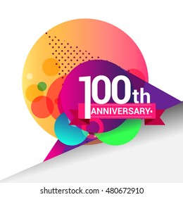 100th Anniversary logo, Colorful geometric background vector design template elements for your birthday celebration.