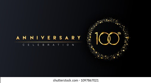 100th anniversary logo with confetti and golden glitter ring isolated on black background, vector design for greeting card and invitation card.