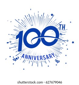 100th anniversary logo with firework and swoosh
