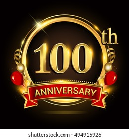 100th anniversary logo with golden ring,balloons and red ribbon. Vector design template elements for your birthday celebration.