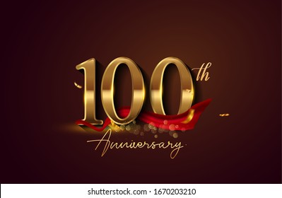 100th anniversary logo with red ribbon and golden confetti isolated on elegant background, sparkle, vector design for greeting card and invitation card.