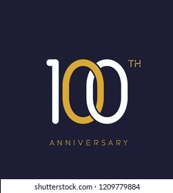 100th anniversary logo.overlapping number with simple monogram color. vector design for greeting card and invitation card.