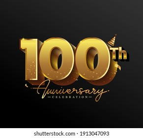 100th Anniversary Logotype with Gold Confetti Isolated on Black Background, Vector Design for Greeting Card and Invitation Card