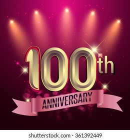 100th Anniversary, Party poster, banner or invitation - background glowing element. Vector Illustration.