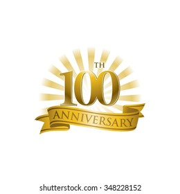 100th anniversary ribbon logo with golden rays of light