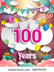 100th Birthday Celebration greeting card Design, with clouds and balloons. Vector elements for the celebration party of one hundred years anniversary