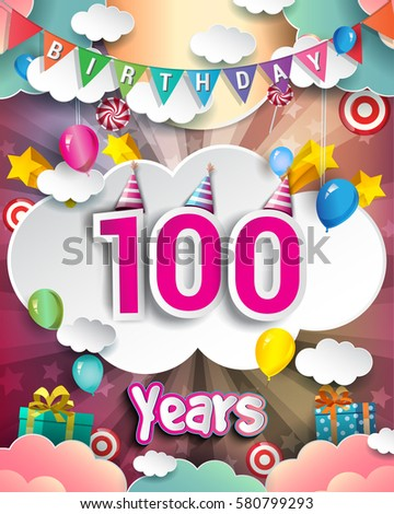 100th Birthday Celebration Greeting Card Design With Clouds And Balloons Vector Elements For The