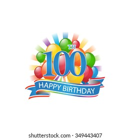 100th colorful happy birthday logo with balloons and burst of light