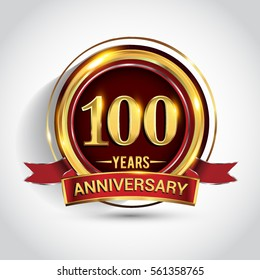 100th golden anniversary logo, one hundred years birthday celebration with ring and red ribbon isolated on white background