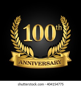 100th golden anniversary logo with ring and ribbon, laurel wreath vector design isolated on black background