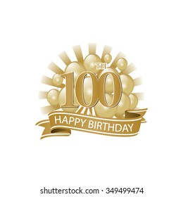 100th golden happy birthday logo with balloons and burst of light