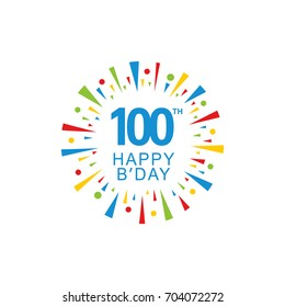 100th Happy Birthday logo, circle shape, colorful sunburst, red blue green yellow color