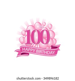 100th pink happy birthday logo with balloons and burst of light