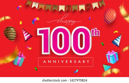 100th Years Anniversary Celebration Design, with gift box and balloons, ribbon, Colorful Vector template elements for your birthday celebrating party.