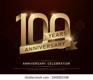 100th years anniversary celebration gold number and golden ribbons with fireworks on dark background. vector illustration