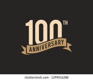 100th Years Anniversary Celebration Icon Vector Logo Design Template