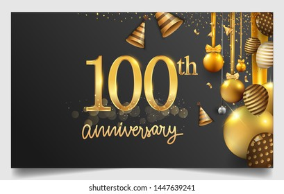 100th years anniversary design for greeting cards and invitation, with balloon, confetti and gift box, elegant design with gold and dark color, design template for birthday celebration.
