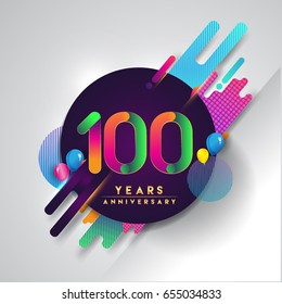 100th years Anniversary logo with colorful abstract background, vector design template elements for invitation card and poster your birthday celebration.