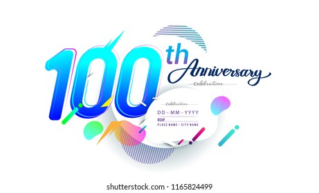 100th years anniversary logo, vector design birthday celebration with colorful geometric background, isolated on white background.