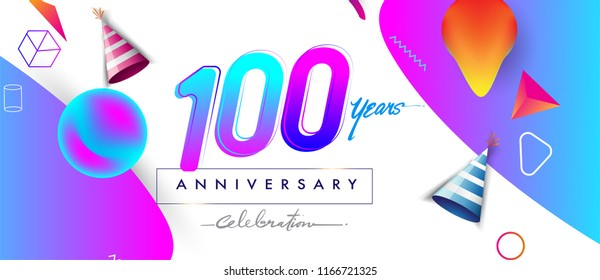100th years anniversary logo, vector design birthday celebration with colorful geometric background and abstract elements.
