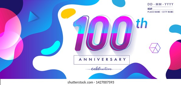 100th years anniversary logo, vector design birthday celebration with colorful geometric background and circles shape.