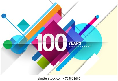 100th years anniversary logo, vector design birthday celebration with colorful geometric isolated on white background.
