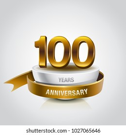 100th years golden anniversary logo celebration with ring and ribbon.