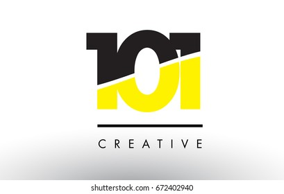 101 Black and Yellow Number Logo Design cut in half.