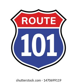 101 route sign icon. Vector road 101 highway interstate american freeway us california route symbol.
