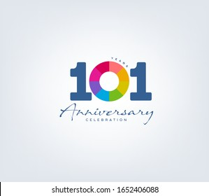 101 st anniversary or birthday celebration design template Vector.