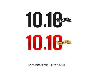 10.10 sale, 10.10 Online sale, golden ribbon black & red color, number signs date & month applicable shopping festival poster or flyer design, social media banner, shopping online festival, web banner