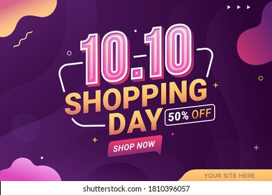 10.10 Shopping day sale banner background for business retail promotion vector illustration