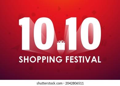 10.10 Shopping festival, Speech marketing banner design on red background. Vector illustration