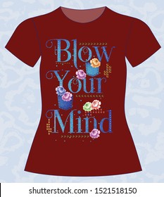 102-T-shirt, girl, blow your mind, slogan lovely,  typography, vector, illustration text