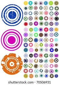 105 Vector Circle Elements with splat and grunge effects