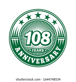 108 years anniversary. Anniversary logo design. Vector and illustration.
