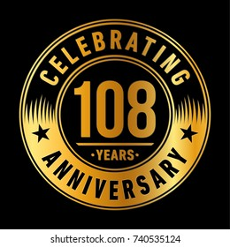 108 years anniversary logo template. Vector and illustration.