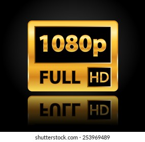 1080p Full HD sign with reflection