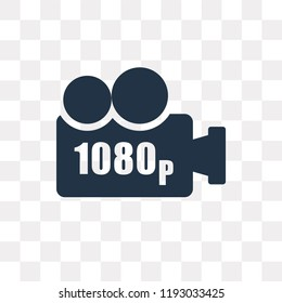 1080p Full HD vector icon isolated on transparent background, 1080p Full HD transparency concept can be used web and mobile