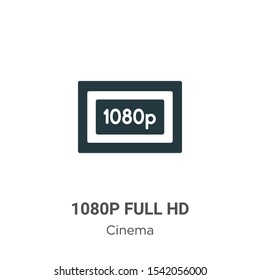 1080p full hd vector icon on white background. Flat vector 1080p full hd icon symbol sign from modern cinema collection for mobile concept and web apps design.