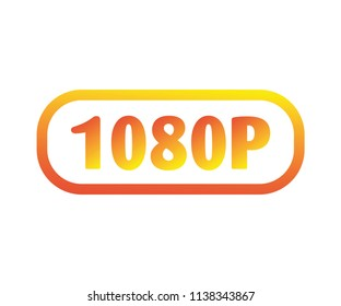 1080p FullHD resolution golden icon for web and mobile vector