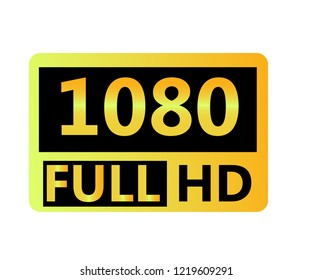 1080p FullHD resolution golden icon for web and mobile