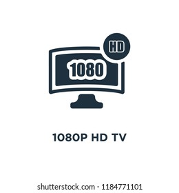 1080p HD tv icon. Black filled vector illustration. 1080p HD tv symbol on white background. Can be used in web and mobile.
