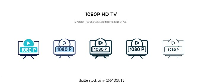 1080p hd tv icon in different style vector illustration. two colored and black 1080p hd tv vector icons designed in filled, outline, line and stroke style can be used for web, mobile, ui
