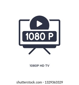 1080p hd tv icon. Simple element illustration from cinema concept. 1080p hd tv editable symbol design on white background. Can be use for web and mobile.