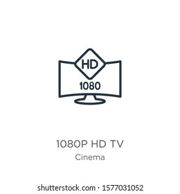1080p hd tv icon. Thin linear 1080p hd tv outline icon isolated on white background from cinema collection. Line vector sign, symbol for web and mobile