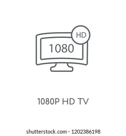 1080p HD tv linear icon. 1080p HD tv concept stroke symbol design. Thin graphic elements vector illustration, outline pattern on a white background, eps 10.