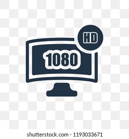 1080p HD tv vector icon isolated on transparent background, 1080p HD tv transparency concept can be used web and mobile