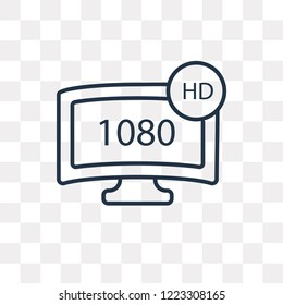 1080p HD tv vector outline icon isolated on transparent background, high quality linear 1080p HD tv transparency concept can be used web and mobile
